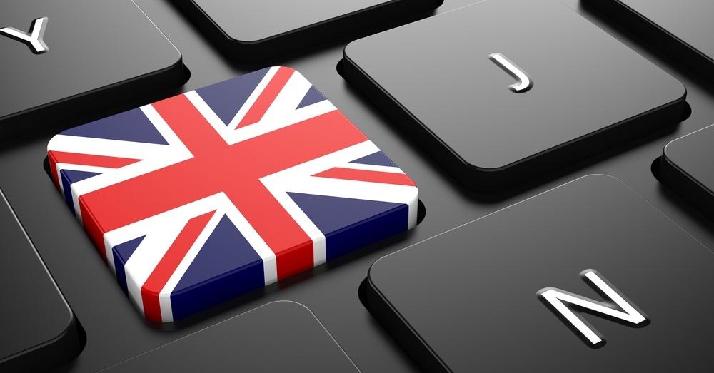 Flag of United Kingdom - Button on Black Computer Keyboard.